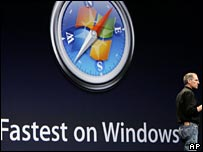 Steve Jobs launching Safari on Windows