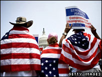 Activists rally for immigration reform in front of the US Capitol, June 2007