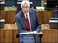 First Minister Rhodri Morgan in the Senedd