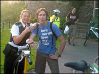 Pc Sue Beament with rider Ben Matthews