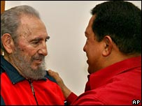 Fidel Castro (l) and Hugo Chavez (r) in January 2007