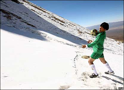 Bolivian President Evo Morales during a football, mount Sajama, Bolivia
