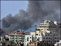 Smoke rises over Shati refugee camp