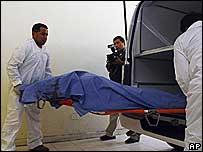 Mario Cesar Rios being taken to hospital