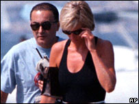 Diana, Princess of Wales, with her companion Dodi Fayed