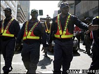 Police officers during a workers march earlier this month
