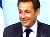 French President Nicolas Sarkozy in a clip from Belgian television