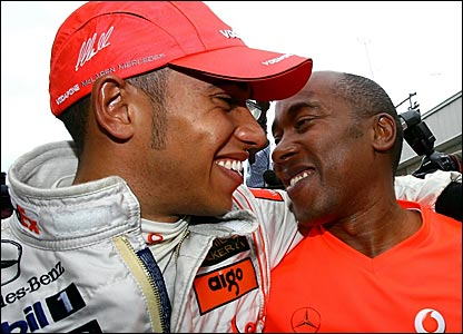 Lewis Hamilton (left) and his father Anthony