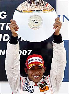 Lewis Hamilton on the podium after the Australian Grand Prix