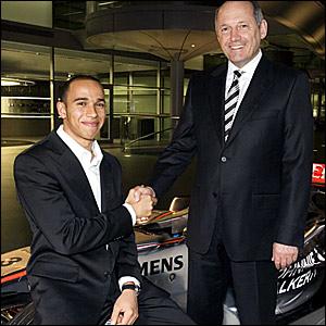 Lewis Hamilton (left) and McLaren chief Ron Dennis