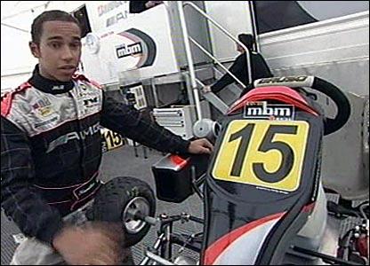 Lewis Hamilton with kart