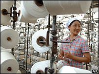 Worker at a textile factory in China