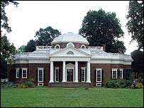 Thomas Jefferson's home in Monticello, Charlottesville, Virginia