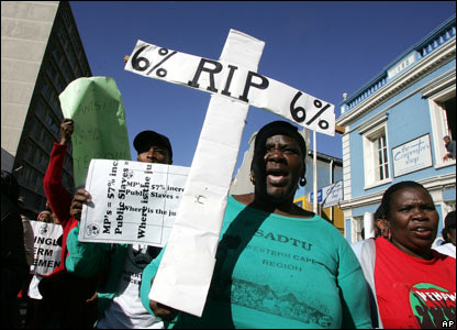 Public sector workers march in Cape Town, South Africa