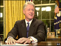 President Bill Clinton in the Oval Office after giving a farewell speech to the nation