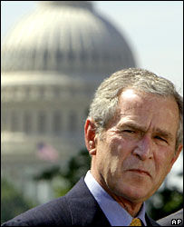 President George W Bush outside the Capitol
