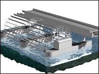 A graphic of the proposed waterwheel