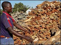 Man buying firewood in Harare