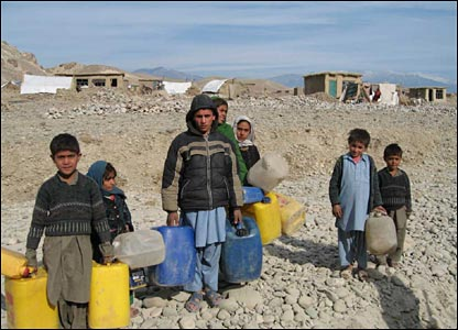 Afghan refugees from Iran living in a camp in Herat province