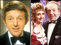 Paul Daniels in 1986 (left) with his rug, and in 1988 without it