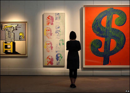 Works by Lichtenstein (left) and Andy Warhol (centre and right) go up for sale at Sotheby's on 21 June