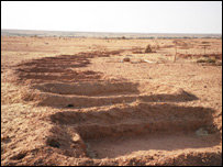 Photo by Julie Flint: Gun emplacement trenches in North Darfur