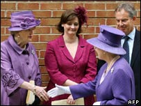 Baroness Thatcher, Cherie Blair, the Queen and Tony Blair