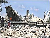 Escombros del cuartel general de Fatah