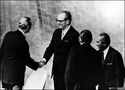 Stanislaw Trepczynski, the new president of the United Nations is greeted by Kurt Waldheim, before taking his seat at the presidential rostrum, 1972