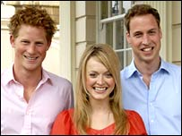 Princes William and Harry with Fearne Cotton