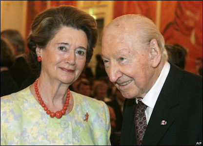 Waldheim and his wife Elisabeth attend a concert at Vienna's Hofburg palace, in Vienna, 2005