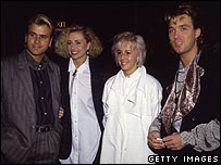 Spandau Ballet's Steve Norman and Gary Kemp with girlfriends in 1984
