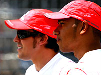 Lewis Hamilton (right) and McLaren team-mate Fernando Alonso