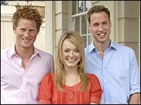 Los príncipes junto a Fearne Cotton, presentadora de BBC One, uno de los canales de la BBC