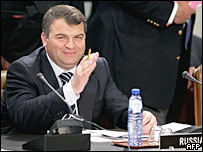 Министр обороны России Анатолий Сердюков в штаб-квартире НАТО в Брюсселе