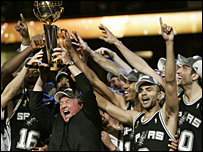 The San Antonio Spurs celebrate their NBA Finals win