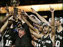 The San Antonio Spurs celebrate their NBA Finals win