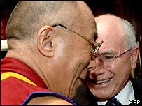 The Dalai Lama is greeted by Australian PM John Howard in Sydney - 15/06/07