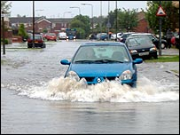 Flooding in Howdale Road, Sutton in Hull