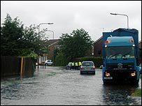Flooding in Howdale Road, Sutton, in Hull