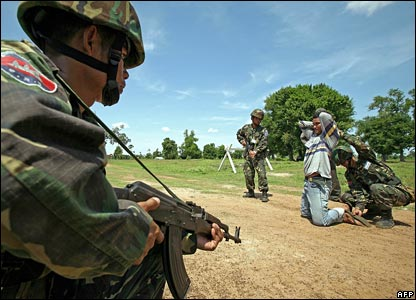 Cambodian troops on exercise