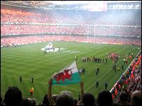 Rugby crowd at Millennium Stadium, Cardiff