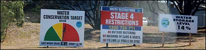 Photo of water restriction signs by Edward Byard