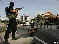Miliciano de Hamas en la Franja de Gaza