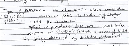 Police recovered detailed notes on smoke detectors and other technical information