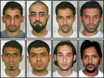 Clockwise from top left: Junade Feroze, Mohammed Naveed Bhatti, Zia Ul Haq, Abdul Aziz Jalil, Dhiren Barot, Omar Abdur Rehman, Nadeem Tarmohamed and Qaisar Shaffi