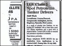 A tanker driver advert, recovered from one of the home addresses
