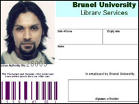 Dhiren Barot's fake Brunel University ID