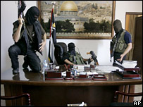 Hamas gunmen at Mahmoud Abbas' desk