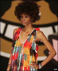 A model shows off one of the AfroReggae designs during Sao Paulo fashion week